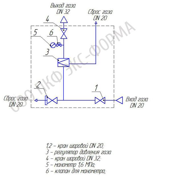 Схема ГРПШ-1, ГРПШ-1-1Н