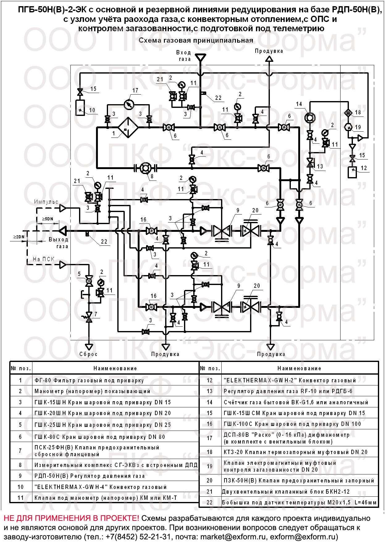 схема газовая ПГБ-50-СГ, ПГБ-50-СГ-ЭК, ПГБ-50/2-СГ